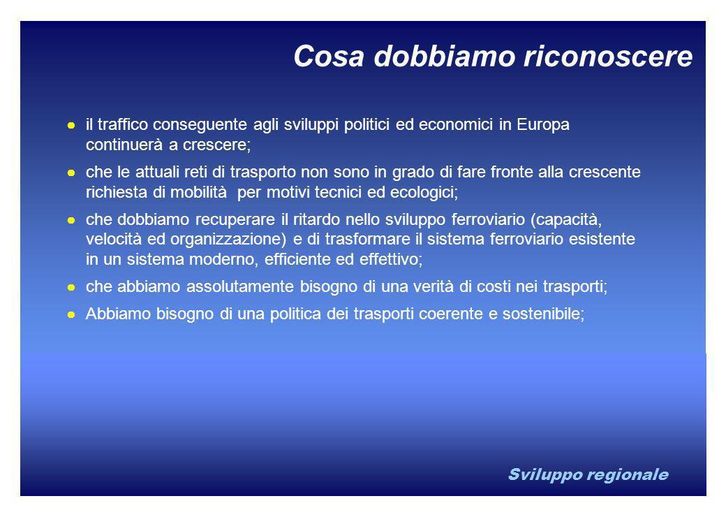 Sviluppo regionale Cosa dobbiamo riconoscere il traffico conseguente agli sviluppi politici ed economici in Europa continuerà a crescere; che le attua