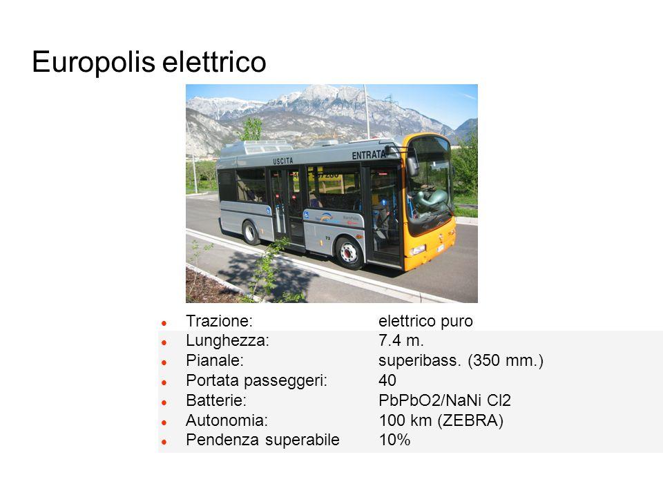 Europolis elettrico l Trazione: elettrico puro l Lunghezza: 7.4 m. l Pianale: superibass. (350 mm.) l Portata passeggeri: 40 l Batterie: PbPbO2/NaNi C