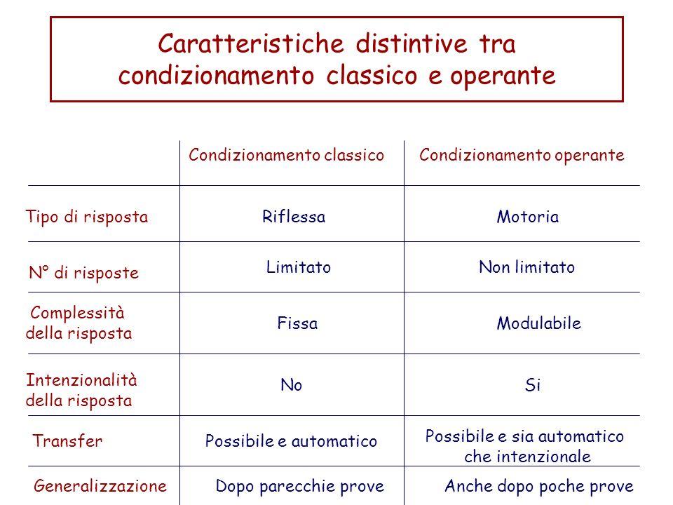 Caratteristiche distintive tra condizionamento classico e operante Condizionamento classicoCondizionamento operante Tipo di risposta N° di risposte Co