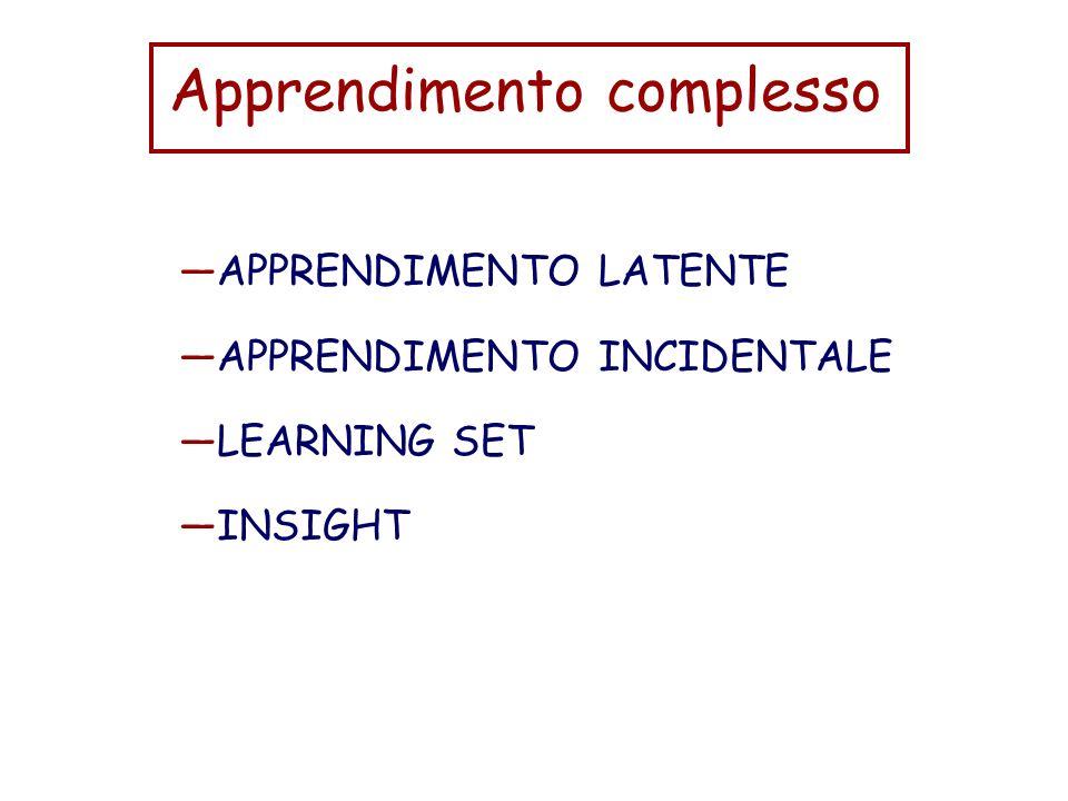 Apprendimento complesso APPRENDIMENTO LATENTE APPRENDIMENTO INCIDENTALE LEARNING SET INSIGHT