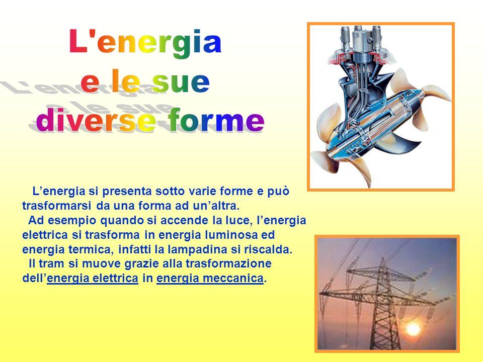 Lenergia si presenta sotto varie forme e può trasformarsi da una forma ad unaltra.