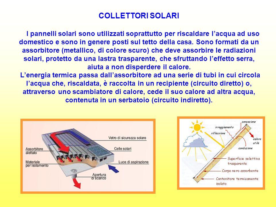 COLLETTORI SOLARI I pannelli solari sono utilizzati soprattutto per riscaldare lacqua ad uso domestico e sono in genere posti sul tetto della casa.