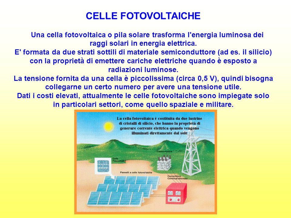 CELLE FOTOVOLTAICHE Una cella fotovoltaica o pila solare trasforma l energia luminosa dei raggi solari in energia elettrica.