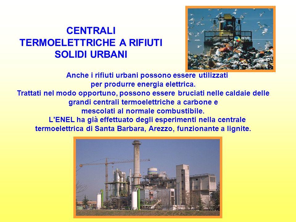 CENTRALI TERMOELETTRICHE A RIFIUTI SOLIDI URBANI Anche i rifiuti urbani possono essere utilizzati per produrre energia elettrica.