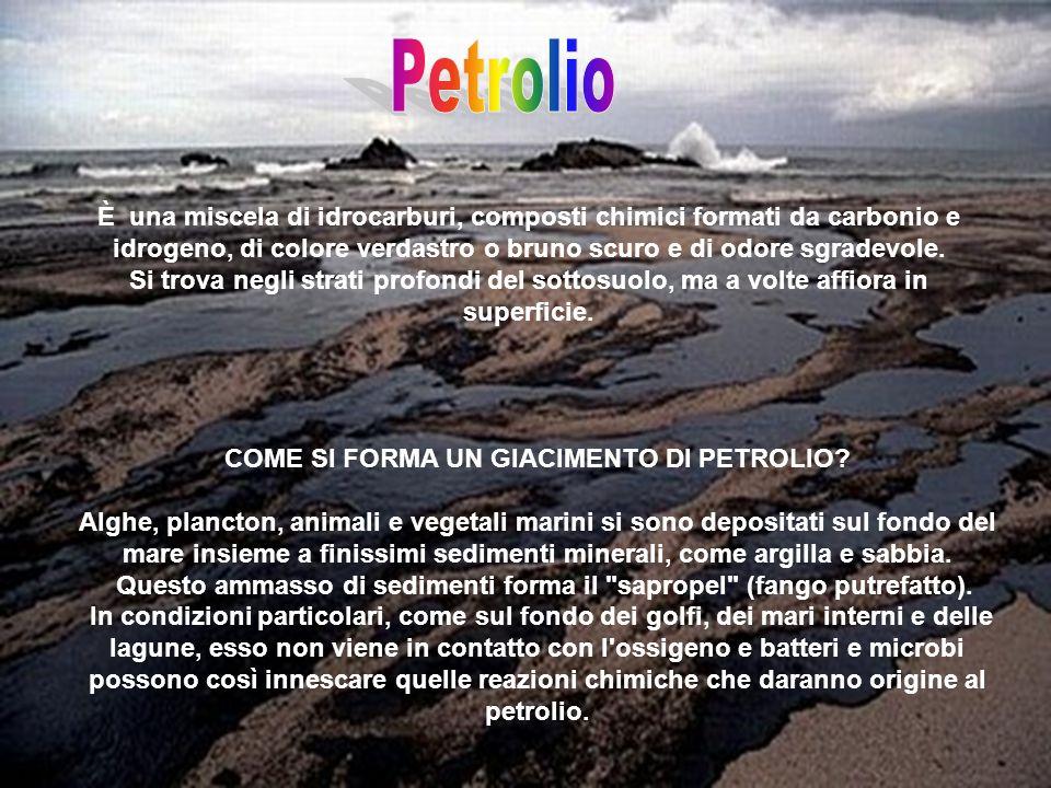 È una miscela di idrocarburi, composti chimici formati da carbonio e idrogeno, di colore verdastro o bruno scuro e di odore sgradevole.