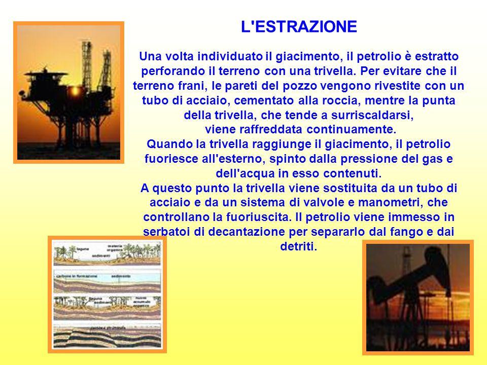 L ESTRAZIONE Una volta individuato il giacimento, il petrolio è estratto perforando il terreno con una trivella.