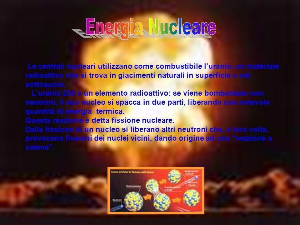 Le centrali nucleari utilizzano come combustibile luranio, un materiale radioattivo che si trova in giacimenti naturali in superficie o nel sottosuolo.