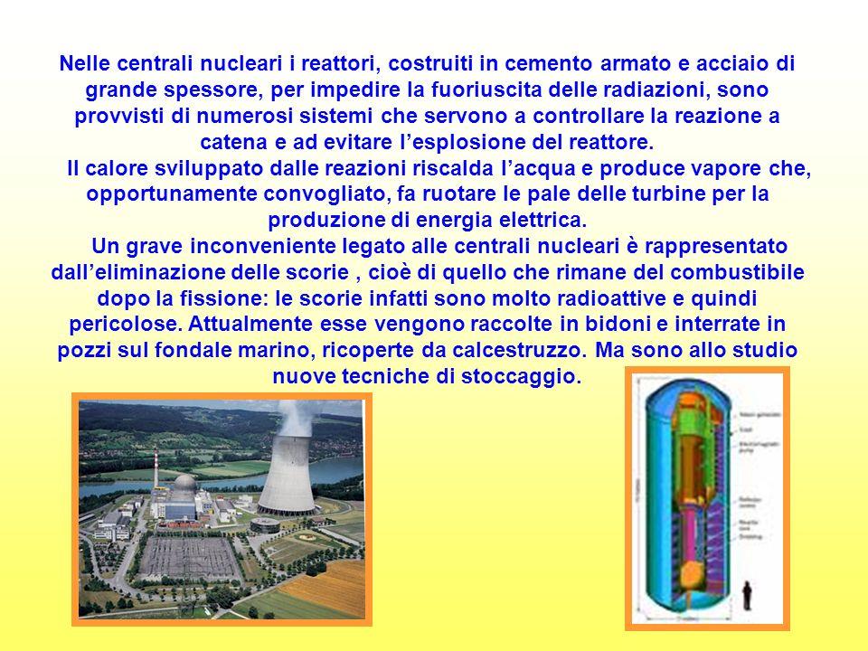 Nelle centrali nucleari i reattori, costruiti in cemento armato e acciaio di grande spessore, per impedire la fuoriuscita delle radiazioni, sono provvisti di numerosi sistemi che servono a controllare la reazione a catena e ad evitare lesplosione del reattore.
