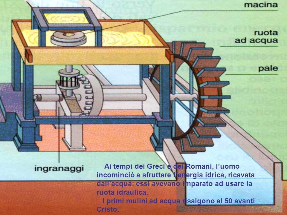 Ai tempi dei Greci e dei Romani, luomo incominciò a sfruttare lenergia idrica, ricavata dallacqua: essi avevano imparato ad usare la ruota idraulica.