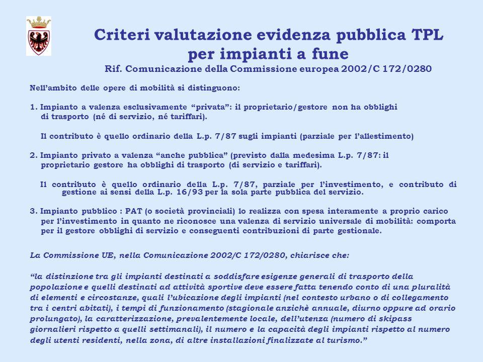 Criteri valutazione evidenza pubblica TPL per impianti a fune Rif.