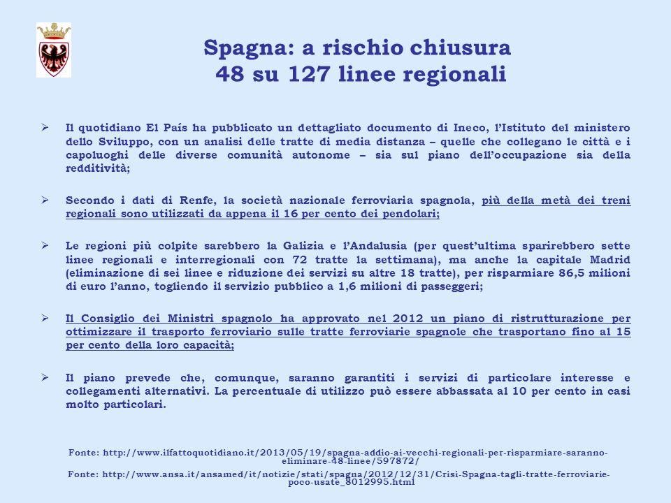 Piemonte: chiusura di 12 linee regionali nel 2012 La Regione Piemonte ha interrotto dal 17 giugno 2012 sine die lesercizio ferroviario di ben 12 linee ferroviarie: Alba-Asti, Alba-Alessandria, Asti-Casale-Mortara, Cuneo-Mondovì,Cuneo-Saluzzo-Savigliano, Novi-Tortona, Alessandria-Ovada, Casale-Vercelli, Santhià-Arona, Pinerolo-Torre Pellice, Chivasso-Asti, Ceva-Ormea; Per lassessore ai Trasporti Barbara Bonino, i ricavi dalla vendita dei biglietti o degli abbonamenti per queste linee erano ormai inferiori all8% di quanto invece si spendeva per lesercizio; la Giunta Regionale ha pertanto deliberato la Modifica del Programma Triennale regionale dei servizi di trasporto pubblico locale per il periodo 1° gennaio 2011 – 31 dicembre 2013; Secondo le motivazioni di delibera lanalisi delle frequentazioni nel giorno feriale del marzo 2011 riferita ai treni delle principali 12 direttrici del Bacino Regionale (a cui corrispondono l 83% della produzione chilometrica ed il 91% della domanda soddisfatta) ha evidenziato: - unelevata numerosità dei percorsi (individuati dalle stazioni capolinea dei treni); - la presenza di molti treni (ed anche di intere direttrici) a bassa frequentazione.