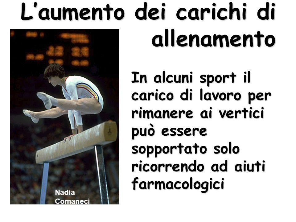 Nadia Comaneci Laumento dei carichi di allenamento In alcuni sport il carico di lavoro per rimanere ai vertici può essere sopportato solo ricorrendo a