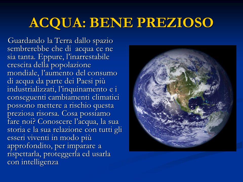 ACQUA: BENE PREZIOSO Guardando la Terra dallo spazio sembrerebbe che di acqua ce ne sia tanta. Eppure, linarrestabile crescita della popolazione mondi