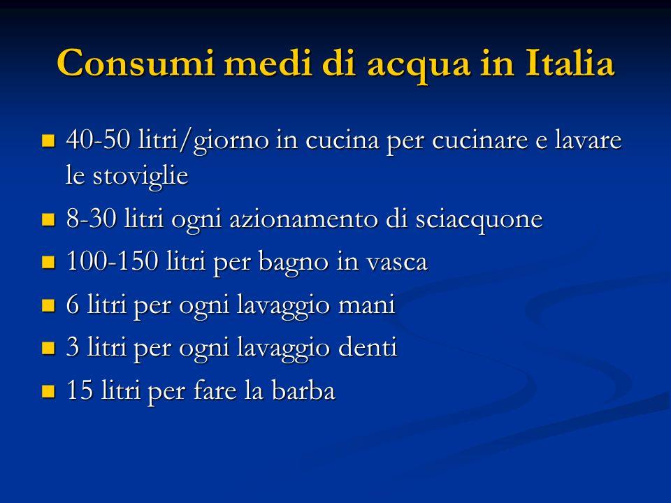 Consumi medi di acqua in Italia 40-50 litri/giorno in cucina per cucinare e lavare le stoviglie 40-50 litri/giorno in cucina per cucinare e lavare le