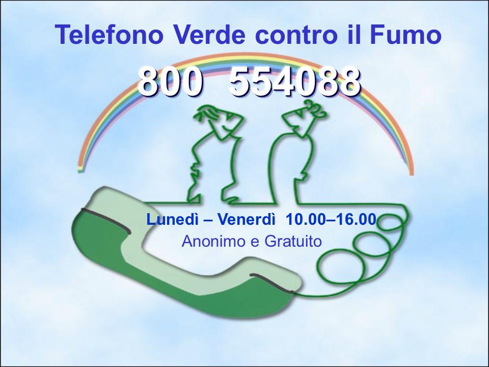 Telefono Verde contro il Fumo Lunedì – Venerdì 10.00–16.00 Anonimo e Gratuito