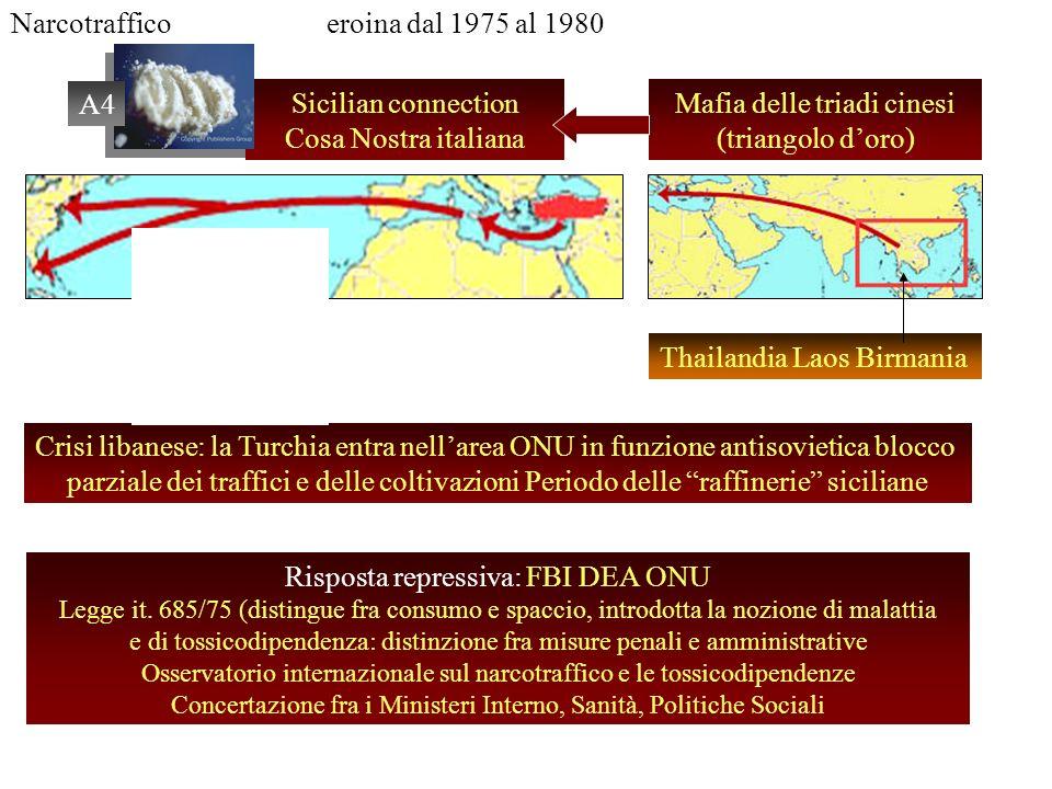 Narcotrafficoeroina dal 1975 al 1980 Sicilian connection Cosa Nostra italiana Mafia delle triadi cinesi (triangolo doro) Thailandia Laos Birmania Cris