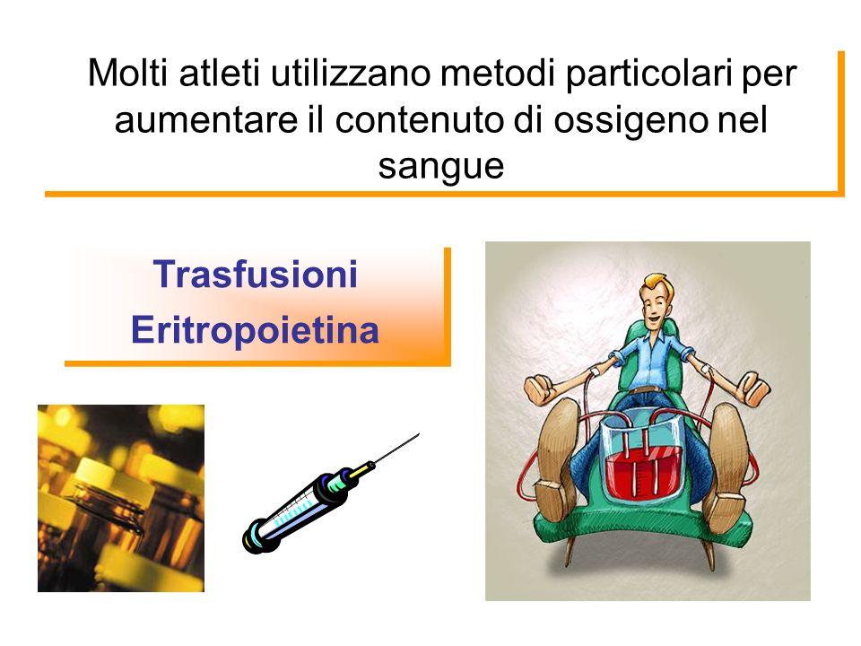 Molti atleti utilizzano metodi particolari per aumentare il contenuto di ossigeno nel sangue Trasfusioni Eritropoietina Trasfusioni Eritropoietina