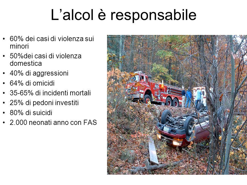 Lalcol è responsabile 60% dei casi di violenza sui minori 50%dei casi di violenza domestica 40% di aggressioni 64% di omicidi 35-65% di incidenti mortali 25% di pedoni investiti 80% di suicidi 2.000 neonati anno con FAS