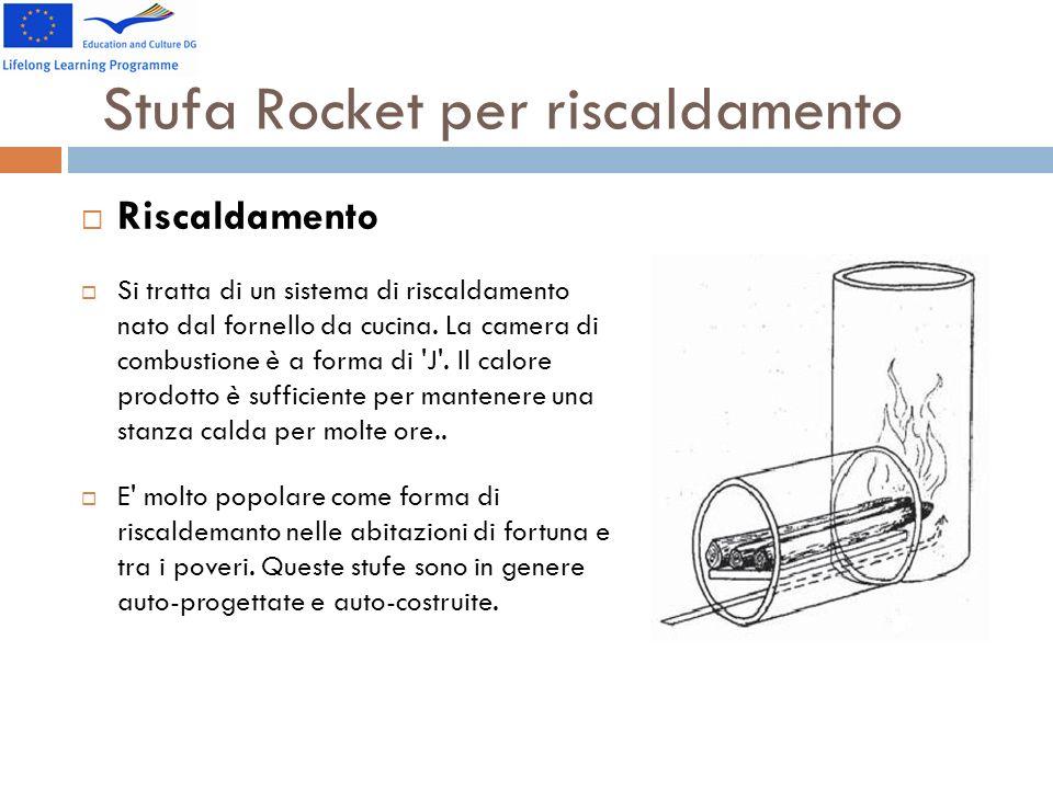 Stufa Rocket per riscaldamento Riscaldamento Si tratta di un sistema di riscaldamento nato dal fornello da cucina. La camera di combustione è a forma