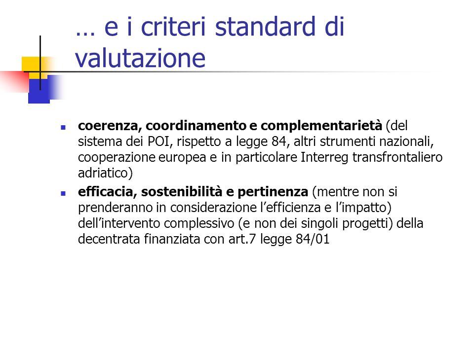 … e i criteri standard di valutazione coerenza, coordinamento e complementarietà (del sistema dei POI, rispetto a legge 84, altri strumenti nazionali, cooperazione europea e in particolare Interreg transfrontaliero adriatico) efficacia, sostenibilità e pertinenza (mentre non si prenderanno in considerazione lefficienza e limpatto) dellintervento complessivo (e non dei singoli progetti) della decentrata finanziata con art.7 legge 84/01