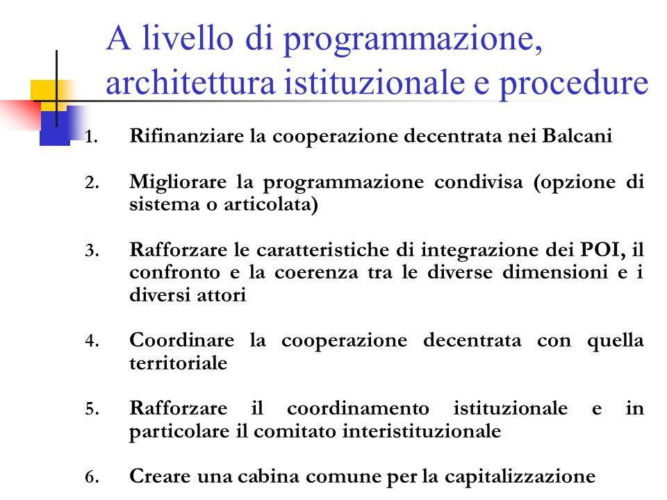 A livello di programmazione, architettura istituzionale e procedure 1.