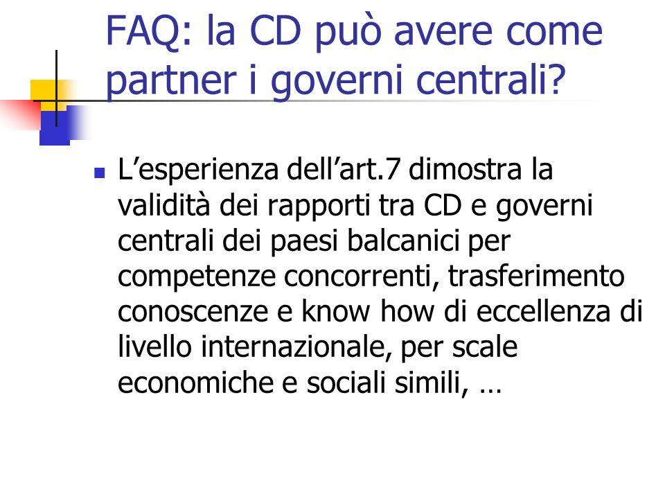 FAQ: la CD può avere come partner i governi centrali.