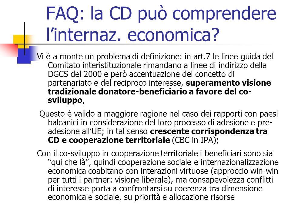 FAQ: la CD può comprendere linternaz. economica.