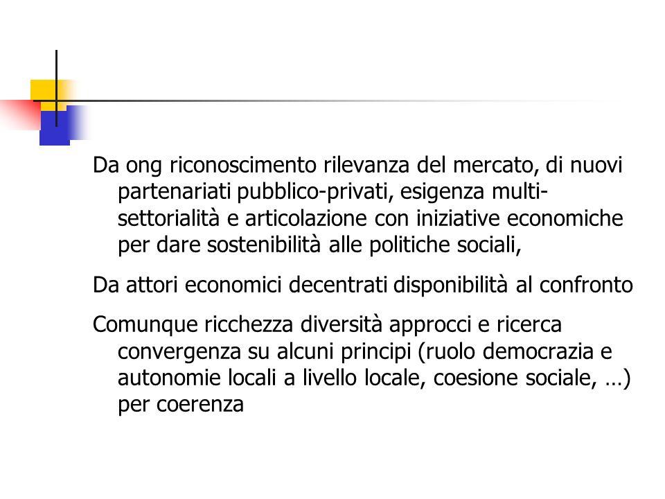 Da ong riconoscimento rilevanza del mercato, di nuovi partenariati pubblico-privati, esigenza multi- settorialità e articolazione con iniziative economiche per dare sostenibilità alle politiche sociali, Da attori economici decentrati disponibilità al confronto Comunque ricchezza diversità approcci e ricerca convergenza su alcuni principi (ruolo democrazia e autonomie locali a livello locale, coesione sociale, …) per coerenza