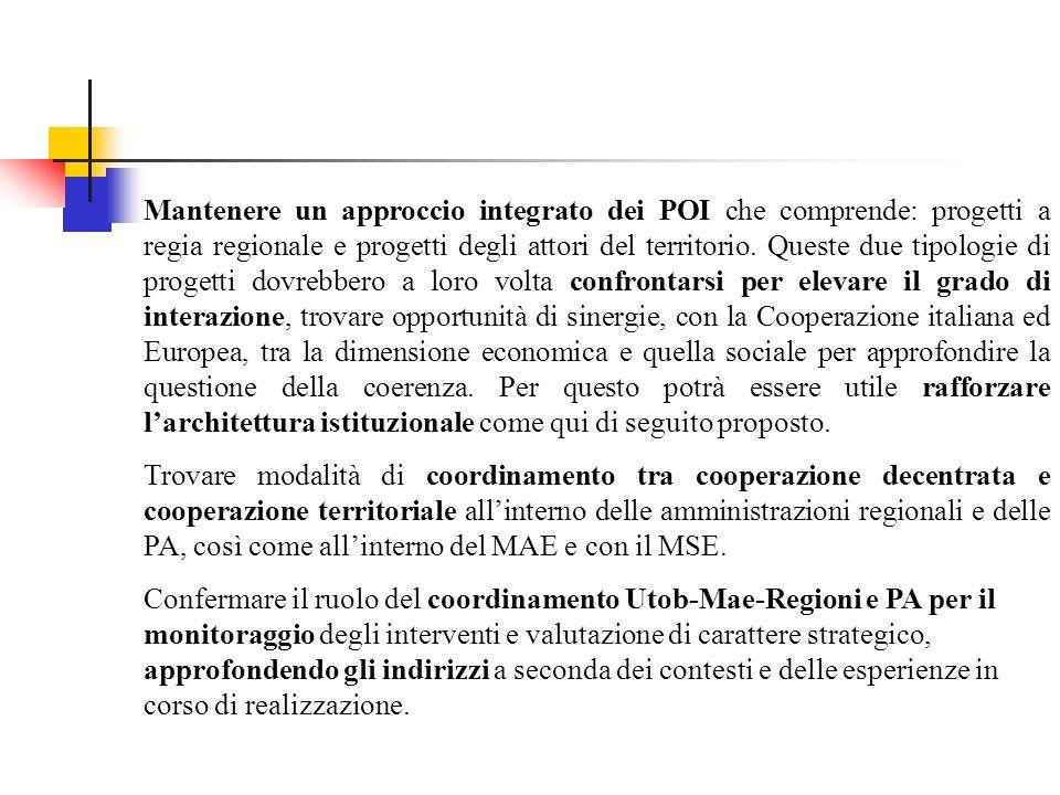 Mantenere un approccio integrato dei POI che comprende: progetti a regia regionale e progetti degli attori del territorio.