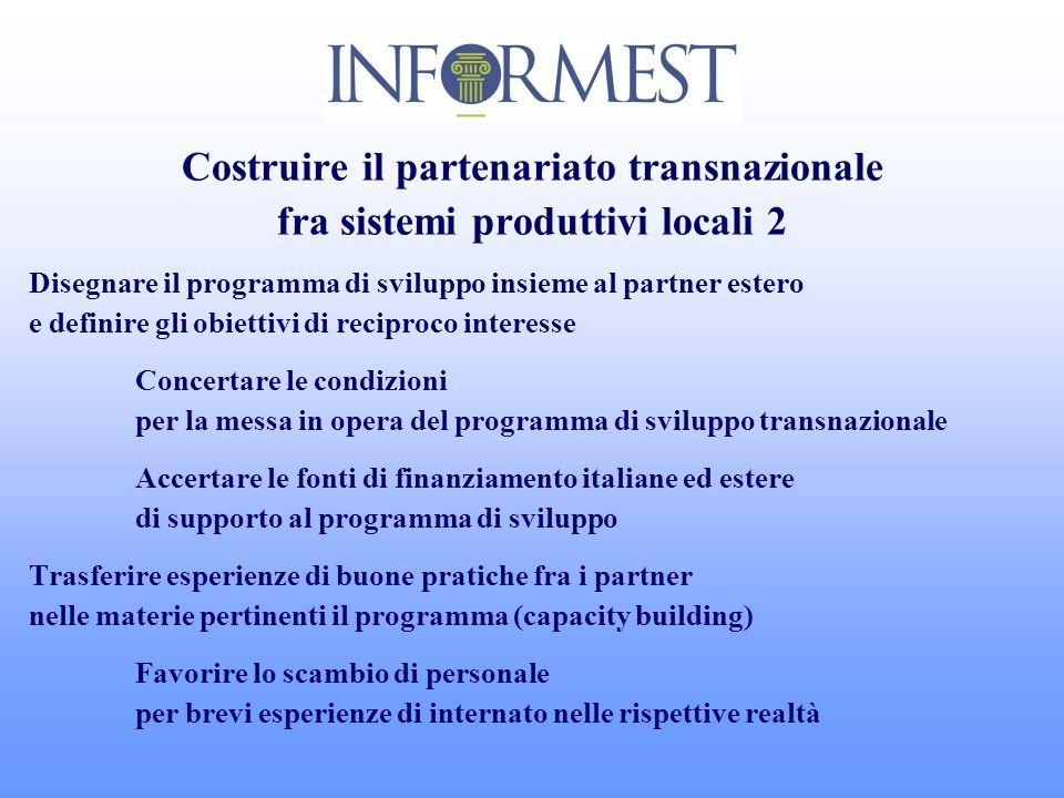 Costruire il partenariato transnazionale fra sistemi produttivi locali 2 Disegnare il programma di sviluppo insieme al partner estero e definire gli o