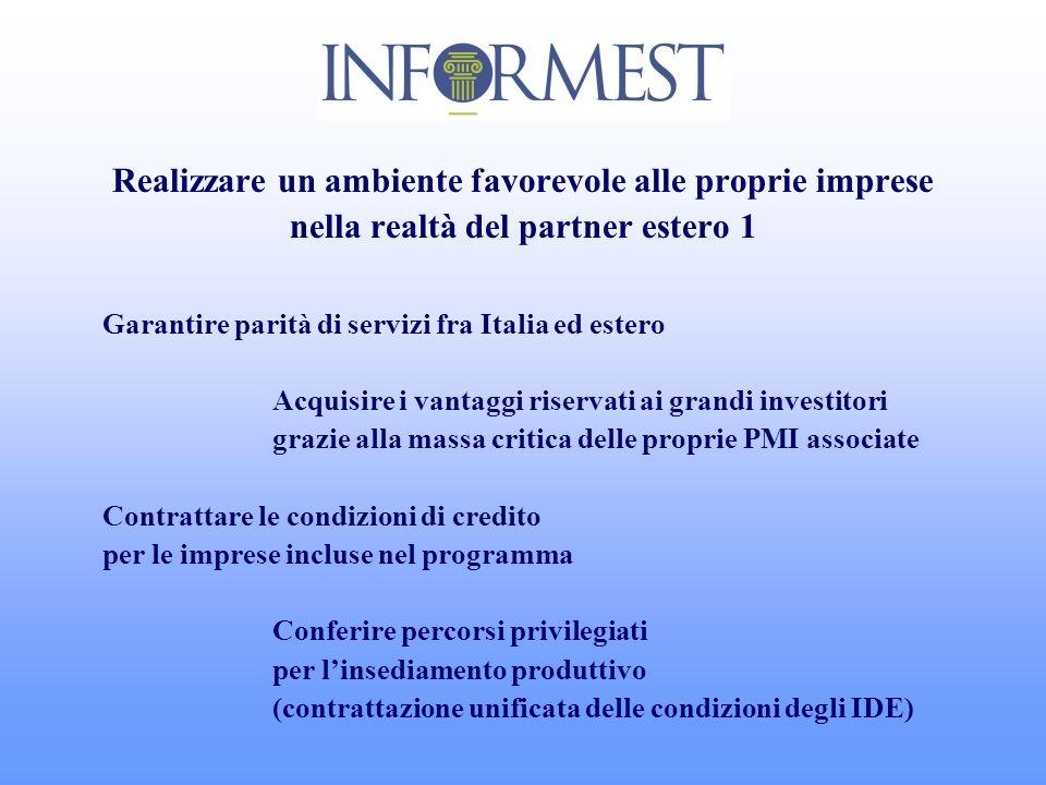 Realizzare un ambiente favorevole alle proprie imprese nella realtà del partner estero 1 Garantire parità di servizi fra Italia ed estero Acquisire i