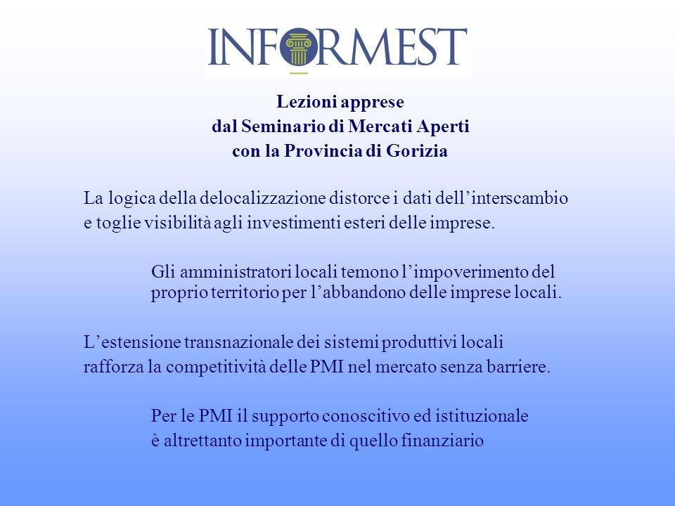 Lezioni apprese dal Seminario di Mercati Aperti con la Provincia di Gorizia La logica della delocalizzazione distorce i dati dellinterscambio e toglie