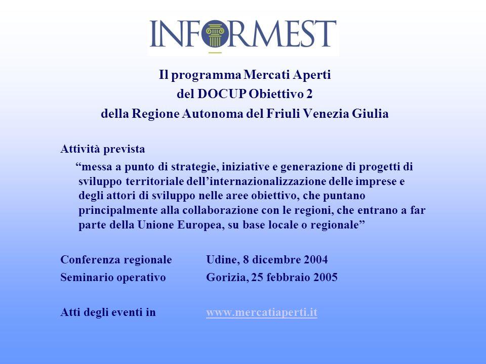 Il programma Mercati Aperti del DOCUP Obiettivo 2 della Regione Autonoma del Friuli Venezia Giulia Attività prevista messa a punto di strategie, inizi