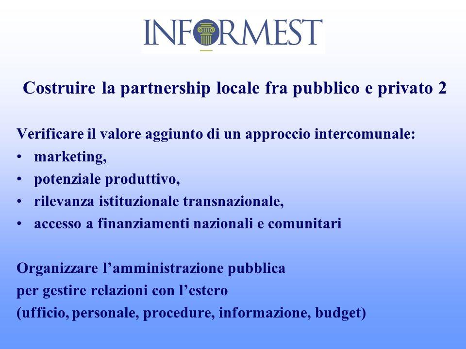 Costruire la partnership locale fra pubblico e privato 2 Verificare il valore aggiunto di un approccio intercomunale: marketing, potenziale produttivo