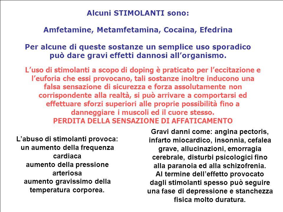 Alcuni STIMOLANTI sono: Amfetamine, Metamfetamina, Cocaina, Efedrina Per alcune di queste sostanze un semplice uso sporadico può dare gravi effetti dannosi allorganismo.