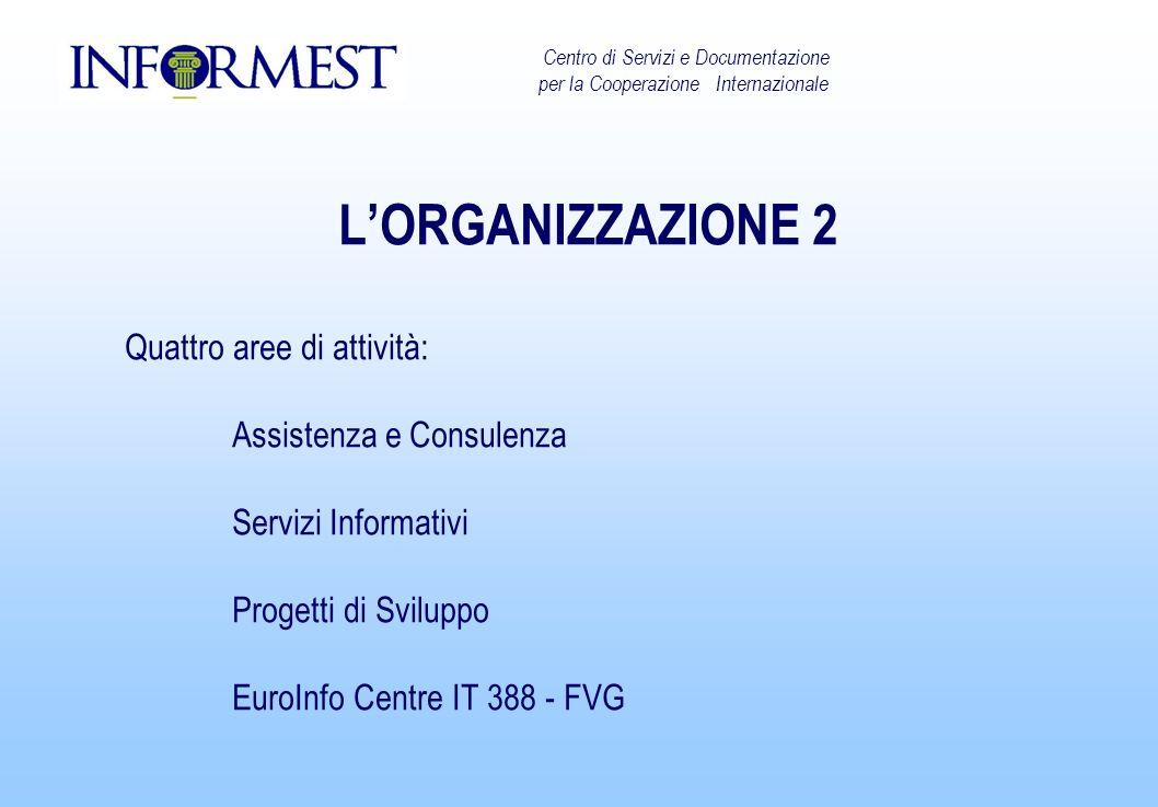LORGANIZZAZIONE 2 Quattro aree di attività: Assistenza e Consulenza Servizi Informativi Progetti di Sviluppo EuroInfo Centre IT 388 - FVG Centro di Servizi e Documentazione per la Cooperazione Internazionale