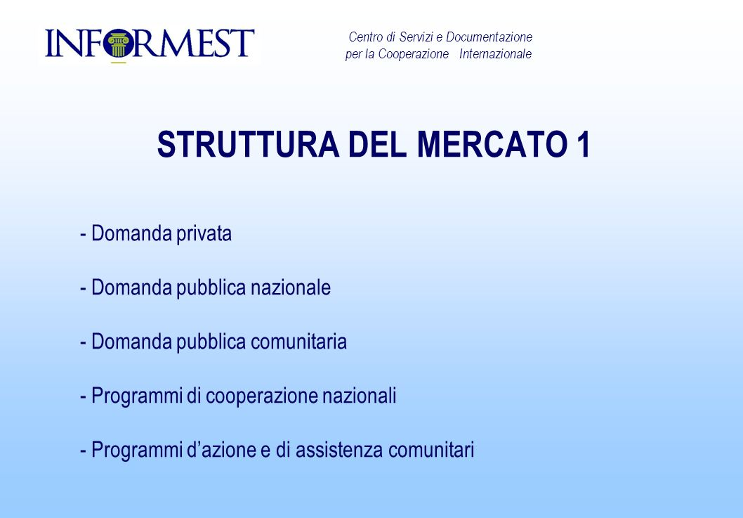 STRUTTURA DEL MERCATO 1 - Domanda privata - Domanda pubblica nazionale - Domanda pubblica comunitaria - Programmi di cooperazione nazionali - Programmi dazione e di assistenza comunitari Centro di Servizi e Documentazione per la Cooperazione Internazionale