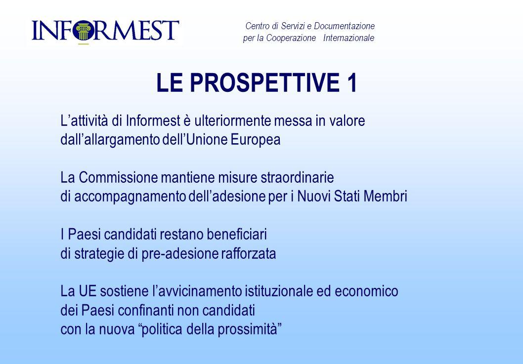 LE PROSPETTIVE 1 Lattività di Informest è ulteriormente messa in valore dallallargamento dellUnione Europea La Commissione mantiene misure straordinar