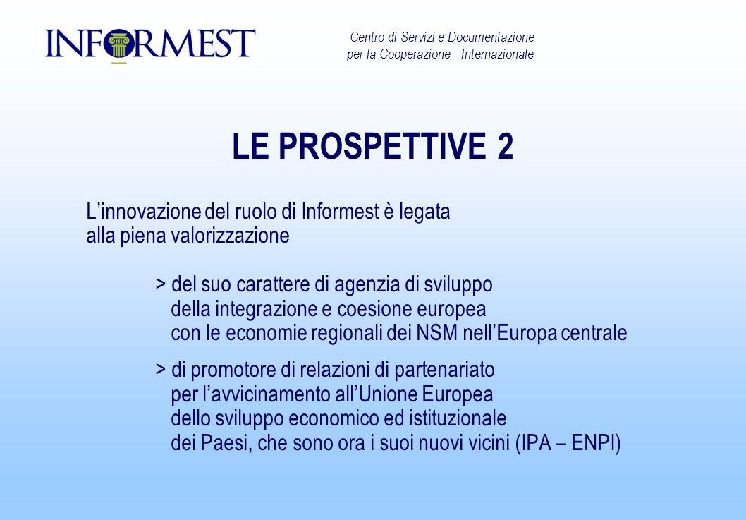 LE PROSPETTIVE 2 Linnovazione del ruolo di Informest è legata alla piena valorizzazione > del suo carattere di agenzia di sviluppo della integrazione