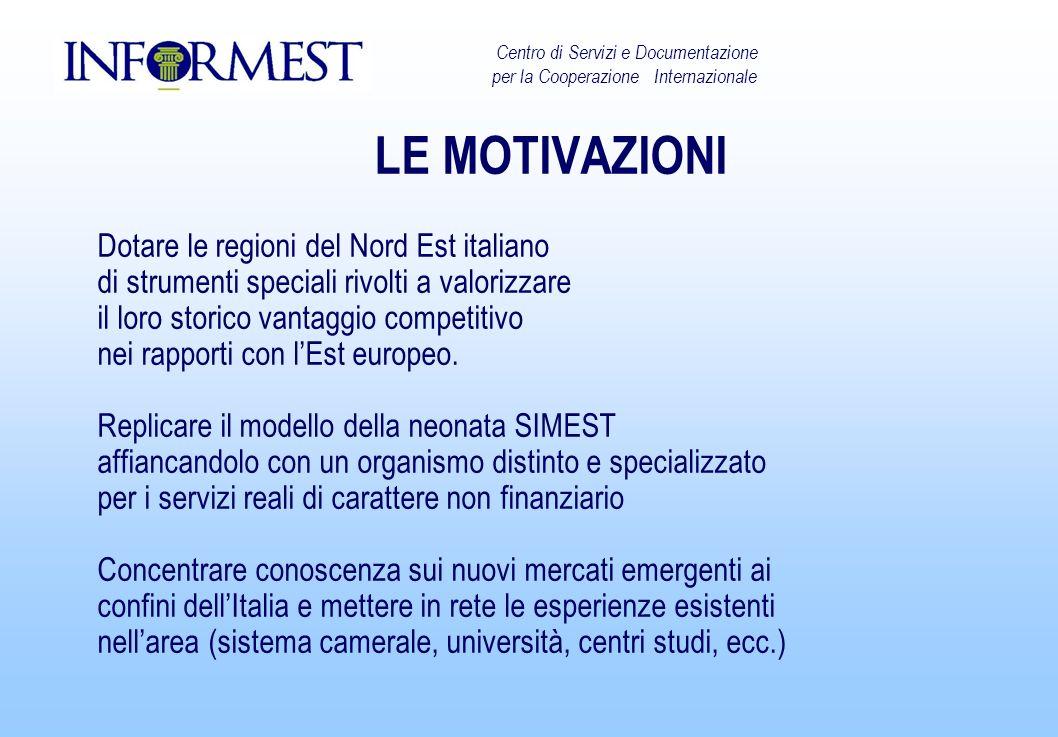 LE MOTIVAZIONI Dotare le regioni del Nord Est italiano di strumenti speciali rivolti a valorizzare il loro storico vantaggio competitivo nei rapporti con lEst europeo.