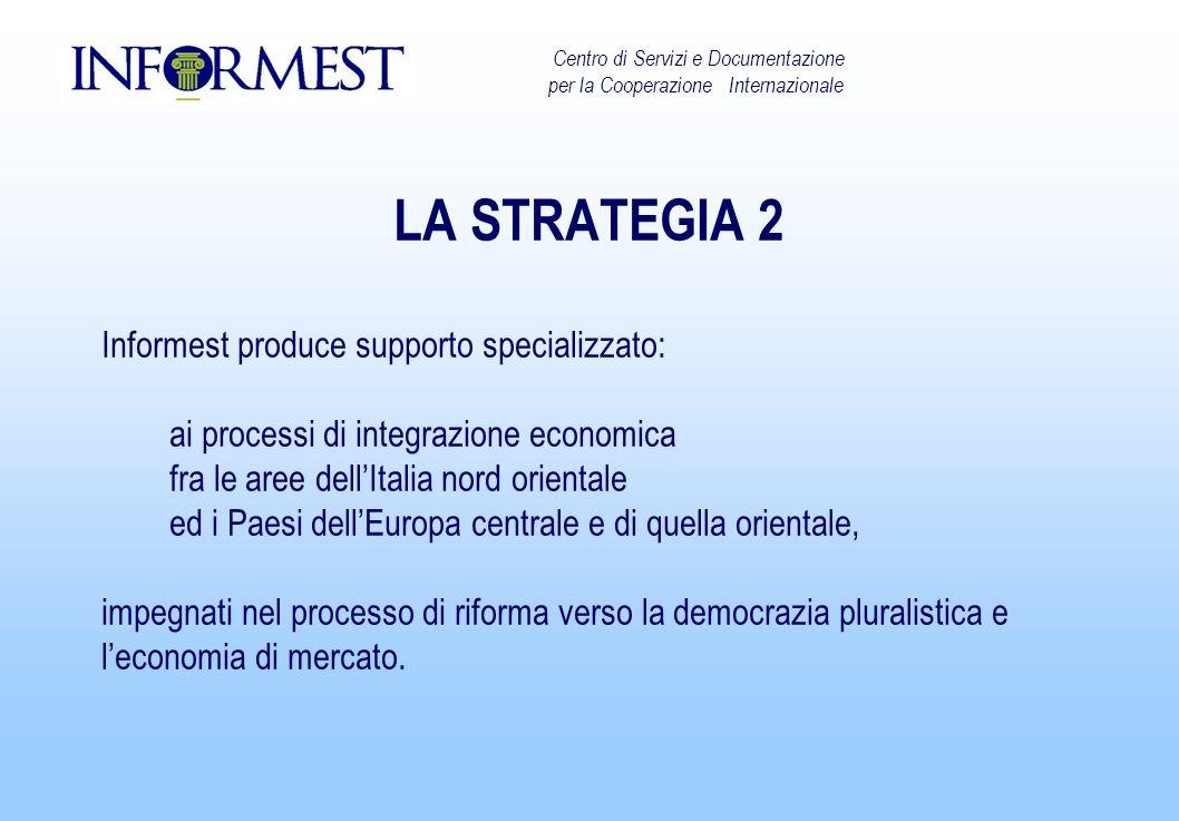 LA STRATEGIA 2 Informest produce supporto specializzato: ai processi di integrazione economica fra le aree dellItalia nord orientale ed i Paesi dellEuropa centrale e di quella orientale, impegnati nel processo di riforma verso la democrazia pluralistica e leconomia di mercato.