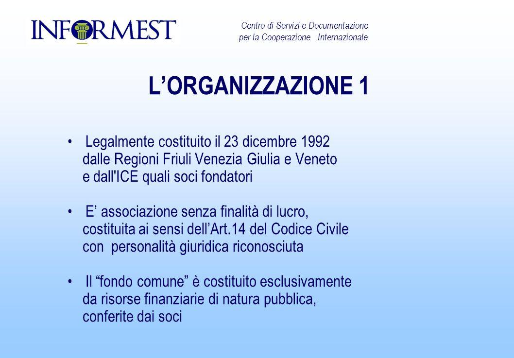 LORGANIZZAZIONE 1 Legalmente costituito il 23 dicembre 1992 dalle Regioni Friuli Venezia Giulia e Veneto e dall'ICE quali soci fondatori E associazion