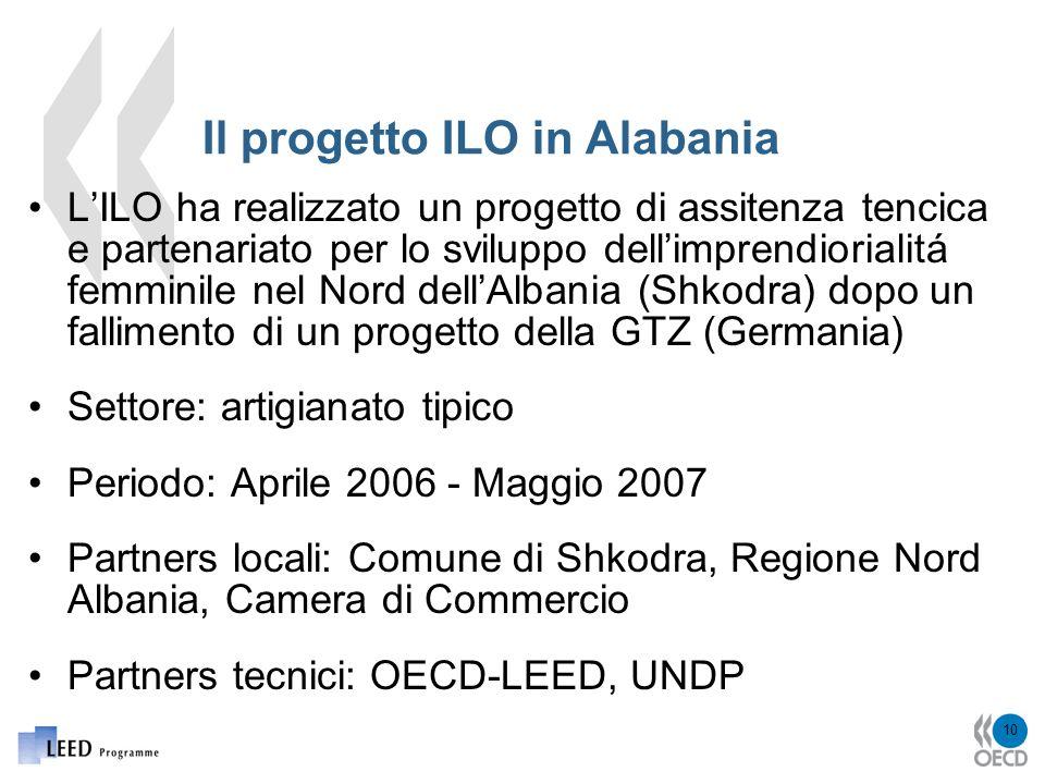 10 Il progetto ILO in Alabania LILO ha realizzato un progetto di assitenza tencica e partenariato per lo sviluppo dellimprendiorialitá femminile nel Nord dellAlbania (Shkodra) dopo un fallimento di un progetto della GTZ (Germania) Settore: artigianato tipico Periodo: Aprile 2006 - Maggio 2007 Partners locali: Comune di Shkodra, Regione Nord Albania, Camera di Commercio Partners tecnici: OECD-LEED, UNDP