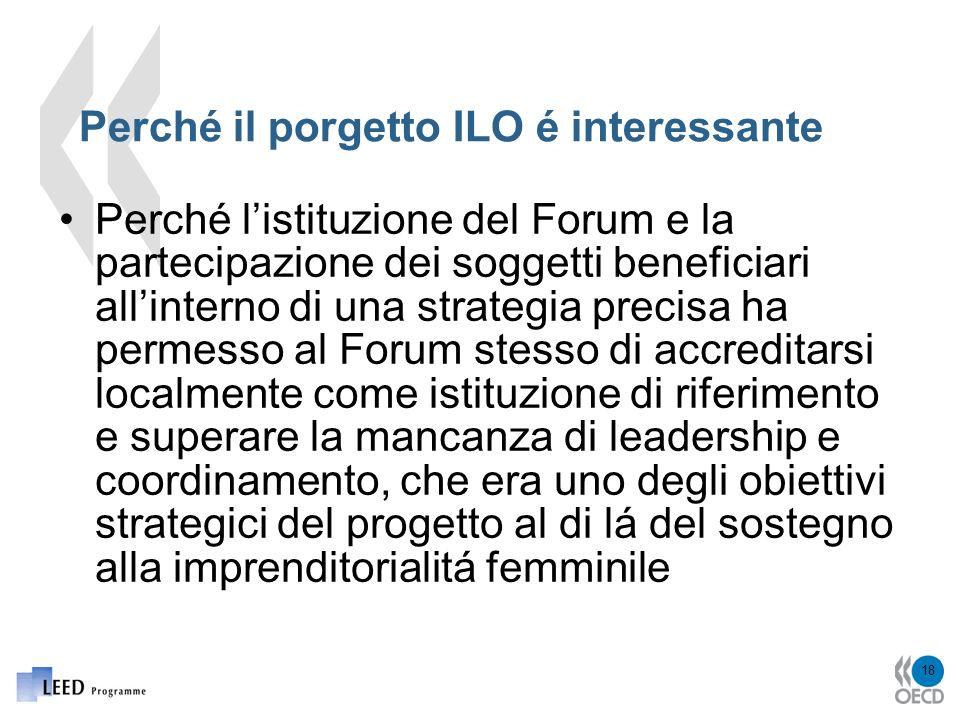 18 Perché il porgetto ILO é interessante Perché listituzione del Forum e la partecipazione dei soggetti beneficiari allinterno di una strategia precisa ha permesso al Forum stesso di accreditarsi localmente come istituzione di riferimento e superare la mancanza di leadership e coordinamento, che era uno degli obiettivi strategici del progetto al di lá del sostegno alla imprenditorialitá femminile