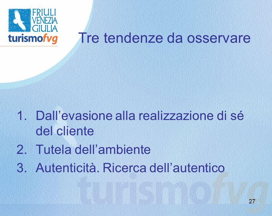 27 Tre tendenze da osservare 1.Dallevasione alla realizzazione di sé del cliente 2.Tutela dellambiente 3.Autenticità. Ricerca dellautentico