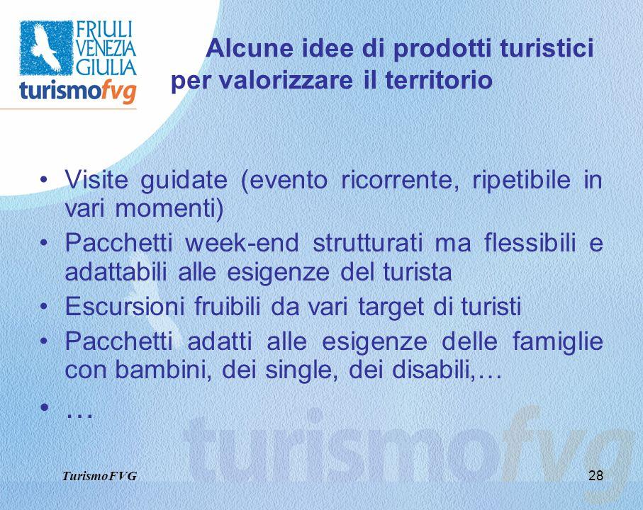28 Alcune idee di prodotti turistici per valorizzare il territorio Visite guidate (evento ricorrente, ripetibile in vari momenti) Pacchetti week-end s