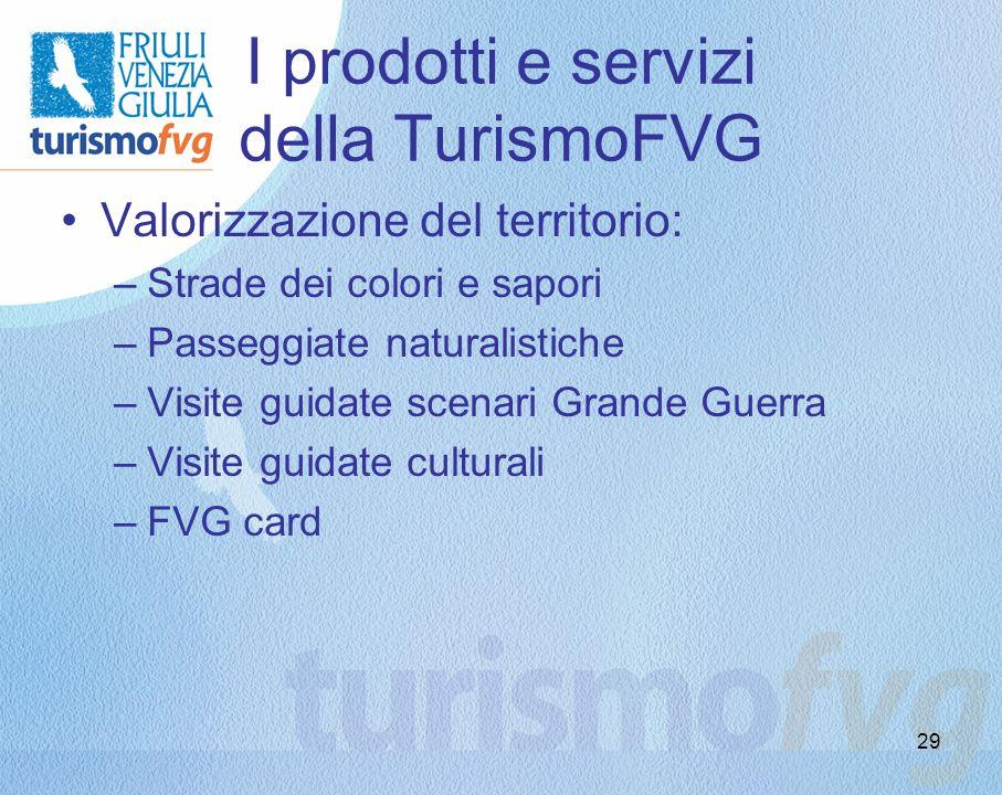I prodotti e servizi della TurismoFVG Valorizzazione del territorio: –Strade dei colori e sapori –Passeggiate naturalistiche –Visite guidate scenari G