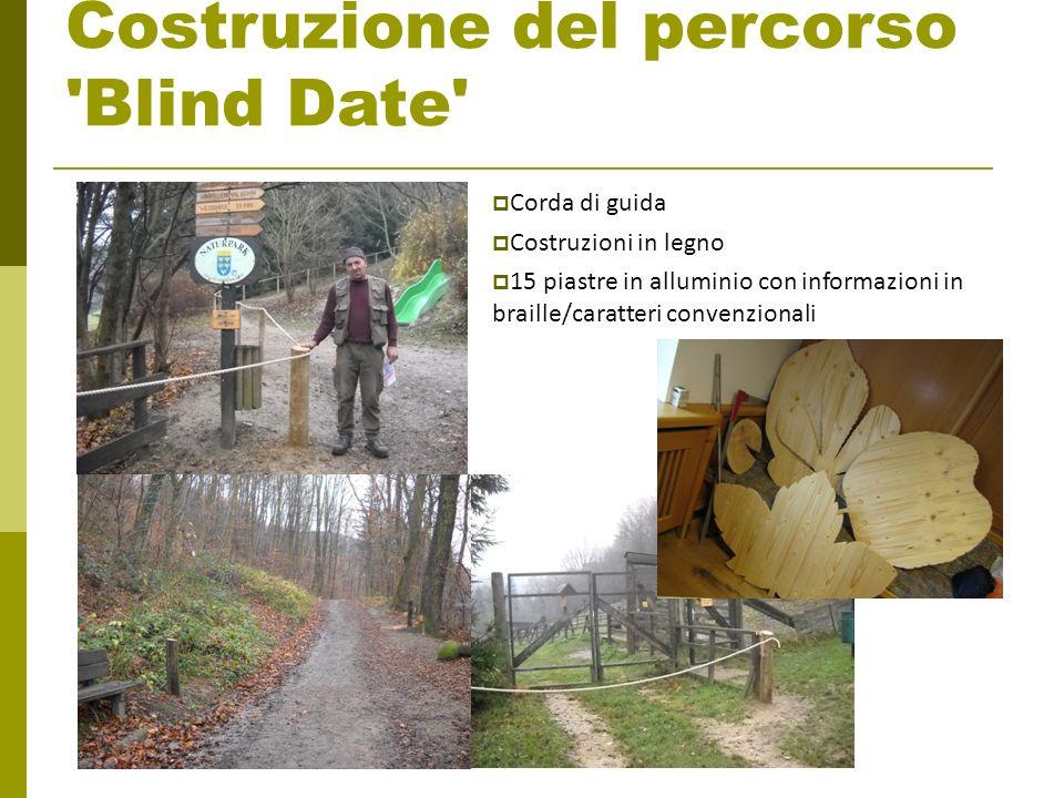 Costruzione del percorso 'Blind Date' Corda di guida Costruzioni in legno 15 piastre in alluminio con informazioni in braille/caratteri convenzionali