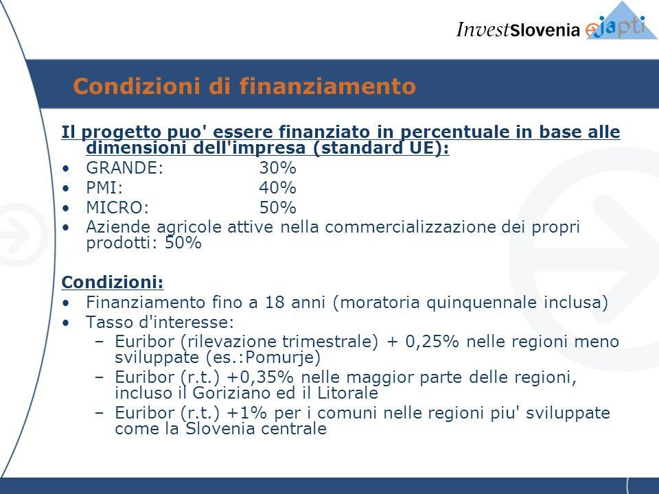 Condizioni di finanziamento Il progetto puo essere finanziato in percentuale in base alle dimensioni dell impresa (standard UE): GRANDE:30% PMI:40% MICRO:50% Aziende agricole attive nella commercializzazione dei propri prodotti: 50% Condizioni: Finanziamento fino a 18 anni (moratoria quinquennale inclusa) Tasso d interesse: –Euribor (rilevazione trimestrale) + 0,25% nelle regioni meno sviluppate (es.:Pomurje) –Euribor (r.t.) +0,35% nelle maggior parte delle regioni, incluso il Goriziano ed il Litorale –Euribor (r.t.) +1% per i comuni nelle regioni piu sviluppate come la Slovenia centrale