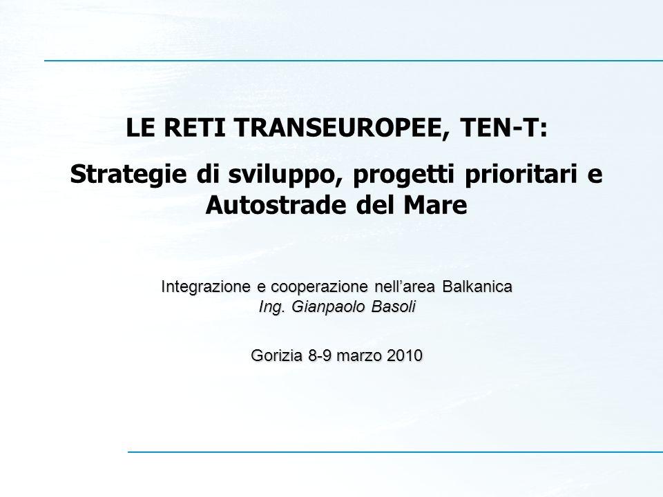 LE RETI TRANSEUROPEE, TEN-T: Strategie di sviluppo, progetti prioritari e Autostrade del Mare Integrazione e cooperazione nellarea Balkanica Ing. Gian